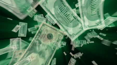 pieniądze : $100, $50, $20, $10, $5 and $1 Dollar Bills flying away, green light rays tinted with exact green from the ink. HD 1080.-