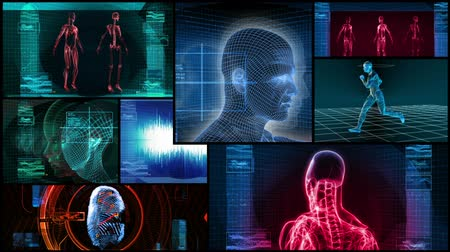 robots : Montage of 3D human medical, science themes. Seamless looping video animation. All videos in this montage are available in my portfolio as separate elements. Stock Footage