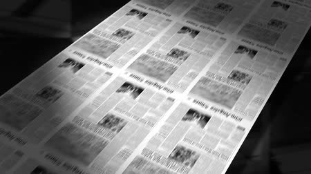 gazete : Newspapers coming off the printing press. Seamless looping video animation.- Stok Video