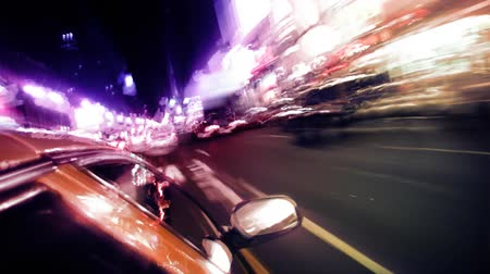Shot from a taxi driving down busy New York City street. Contains no logos or trademarks. Shot on HD 1080p. 30FPS.-