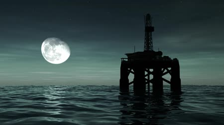 industry : High resolution 3D animation of oil drilling rig at sea. Seamless looping video animation.-