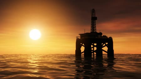 indústria : High resolution 3D animation of oil drilling rig at sea. Seamless looping video animation.-