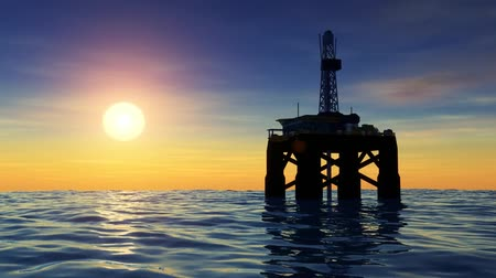 sunset sea : High resolution 3D animation of oil drilling rig at sea. Seamless looping video animation.-