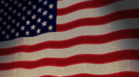 flaga : American flag animation with a grunge look. HD seamless loop. Real film grunge not plug-in effect.- Wideo