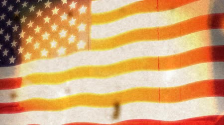 bandeira americana : American flag animation with a grunge look. HD seamless loop. Real film grunge not plug-in effect.- Vídeos