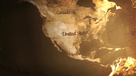 cartografia : USA to Europe. Composite rendered animation of the Earth, old film look. Custom old look map and text created in Photoshop. Animated in AE.- Stock Footage