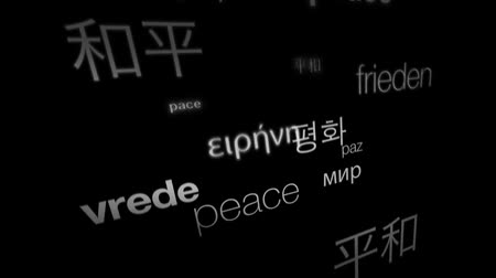 falu : 3D animation of the word peace in various international languages.- Stock mozgókép