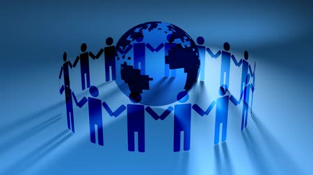partnerstwo : Blue V.4 (HD Loop) - People holding hands around world globe on blue background. Rotates in 3D space. Seamless loop. See more in the FlatFX series.-