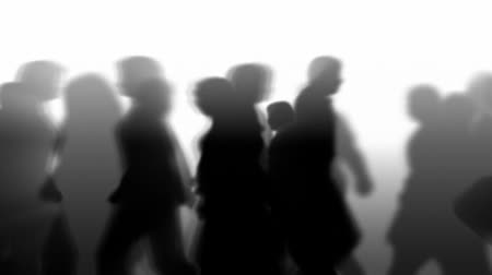 sosyal : Silhouette of animated 3D people walking by. HD 1080 seamless looping video animation.- Stok Video