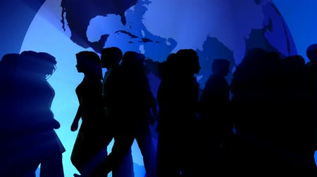 Silhouette of people walking by on blue Earth globe background with green light rays.  Animated 3D people. HD 1080 Seamless Loop.- Vídeos