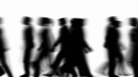 Silhouette of animated 3D people walking by. HD 1080 seamless looping video animation.- Vídeos