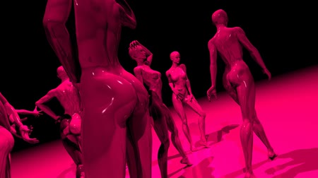 модель : 3D animation of women mannequins in different poses.  Animated 3D people. HD 1080 Seamless loop.-