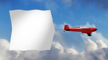 czerwone tło : Animation of red generic airplane towing a large blank sky banner.