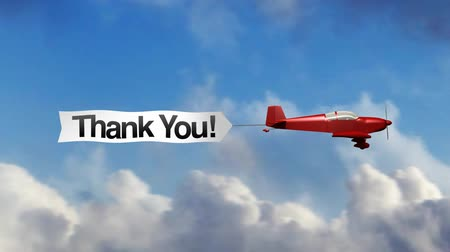 Animation of red generic airplane towing a sky banner Thank You.  Vídeos