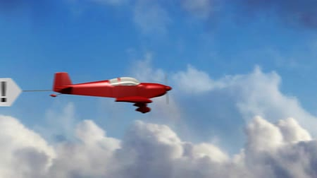 поощрение : Animation of red generic airplane towing a sky banner Thank You.  Стоковые видеозаписи