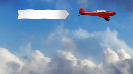 blank : Animation of red generic airplane towing a blank sky banner.