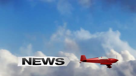 előléptetés : Animation of red generic airplane towing a sky banner NEWS. Stock mozgókép