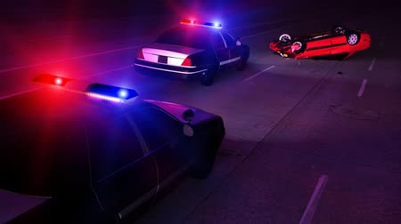 lebontották : 3D render of Police car, state trooper or highway patrol cars at scene of an automobile accident. Lights strobe red and blue.- Stock mozgókép