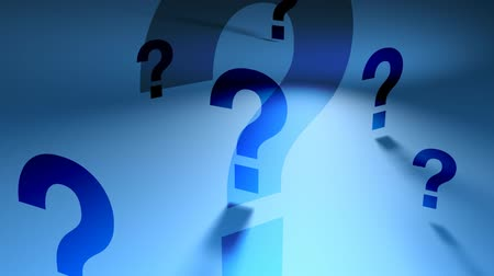 perguntando : Question Marks of different sizes rotating on blue background, FlatFX HD 1080 Seamless Loop.-