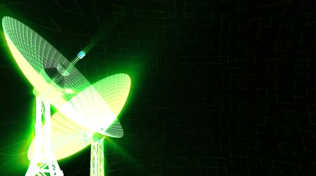 transmitted : 3D radio telescopes with green light rays on high tech background. Room on right side for your image or text. HD 1080 Seamless Loop.
