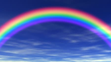 arco íris : Animation of rainbow, blue sky & clouds rolling by in the background. Seamless looping video animation.-