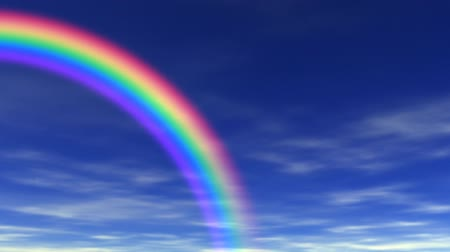 ruhanilik : Animation of rainbow, blue sky & clouds rolling by in the background. Seamless looping video animation.-