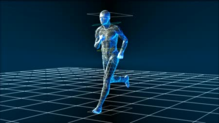 ciało : High tech man running, seamless 1080 HD looping 3D video animation.-