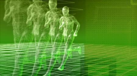 atleta : High tech man running, seamless 1080 HD looping video 3D animation.-