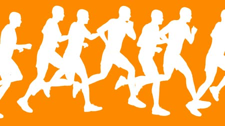 corrida : Running men vector look on orange background. HD 1080 seamless loop.- Vídeos