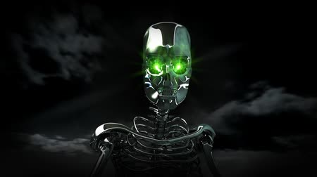 robots : High resolution 3D render of a chrome skeleton with glowing green eyes. Walking toward camera. Dark clouds in the sky. Seamless looping video clip.- Stock Footage