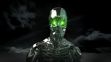 szatan : High resolution 3D render of a chrome skeleton with glowing green eyes. Walking toward camera. Dark clouds in the sky. Seamless looping video clip.- Wideo