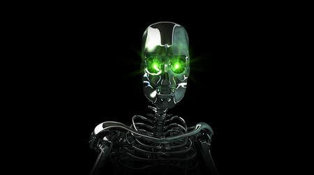 robots : High resolution 3D render of a chrome skeleton with glowing green eyes. Walking toward camera. Black background. Seamless looping video clip.-