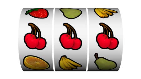 3D Animation of slot machine game, spins twice and cherries win on second spin.-