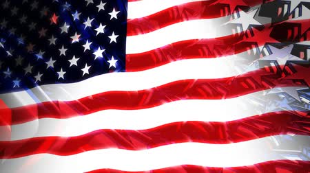 bandeira americana : Red, white and blue stars background with American flag composite. Seamless loop.- Vídeos