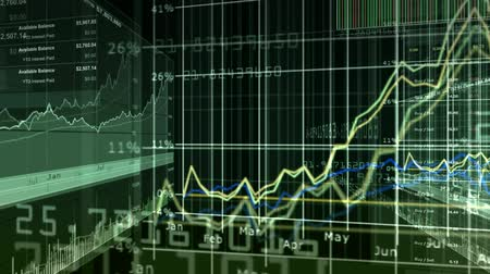 Stock Market & Financial Data 3D digital montage. Seamless looping video animation. v.1- Vídeos