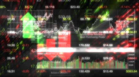 High-tech motion graphics animation of stock prices on tickers streaming by. All company stock symbols are ficticious.  Seamless loop animation.- Vídeos