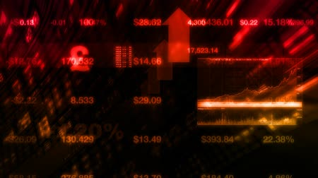 índice : High-tech motion graphics animation of stock prices on tickers streaming by. All company stock symbols are ficticious.  Seamless loop animation.- Vídeos