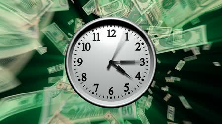 финансы : 3D animation of a clock running very fast through 24 hours. Various U.S. dollar bills fly past in the background. Seamless looping video animation.-