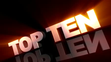 supremo : TOP TEN text, camera moves and rotates around, orange light glows and streaks. Seamless HD 1080 Loop.- Vídeos