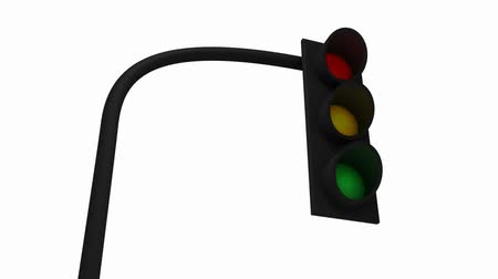 дорожный знак : Traffic signal with light pattern 3D animation isolated on 100% white background. Стоковые видеозаписи