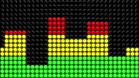 elliptical : Animation of red, yellow and green LED dots showing various levels of intensity of a treadmill or elliptical exercise machine. Seamless looping video animation. Stock Footage