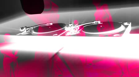 tancerze : DJ turntables, camera orbits, pink women composited into scene. HD 1080 Seamless Loop.-