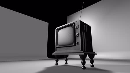 вещание : Cool, clean 3D animation of retro television circa 1950. Camera pans across from left top to right bottom. Стоковые видеозаписи