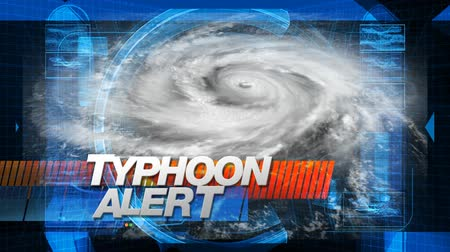 monszun : Typhoon Alert graphic main title - Time-lapse custom composited animation of a massive hurricane. 5 total layers of depth to create a very realistic look and feel. Fractional parts of imagery sourced from the amazing public domain images from http:www.n Stock mozgókép