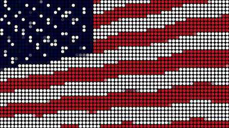 usa : Waving USA flag made of L.E.D. dots. This animation is pinned on the left, gives the movement a true flag on pole feel. Seamless looping video animation.- Dostupné videozáznamy