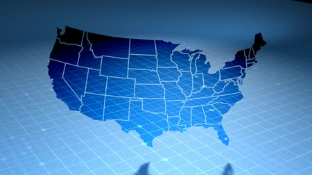 etkileşim : USA map on blue background of networked flashing dots and lines. Rotates in 3D space with lighting and shadow effects. Seamless loop. See more in the FlatFX series.-
