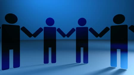 unrecognizable people : Blue v19, HD 1080 Loop - People holding hands on blue background. People rotate in 3D space. Seamless loop. See more versions in the FlatFX series.-