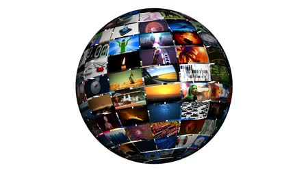 broadcast video : Various videos on a video sphere. All videos in this animation are available in my portfolio as individual clips. ** This video can be looped seamlessly ** All property and model releases for all videos on file.-