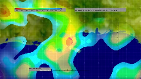cartografia : Animation of digital weather radar display - Gulf of Mexico version - showing areas of rainfall intensity. Meticulously created from scratch. No pre-sets or templates used.