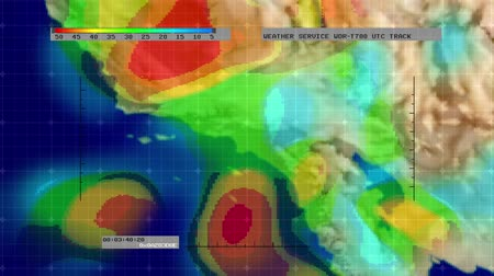 pogoda : Animation of digital weather radar display - Southern California version - showing areas of rainfall intensity. Meticulously created from scratch. No pre-sets or templates used. Wideo